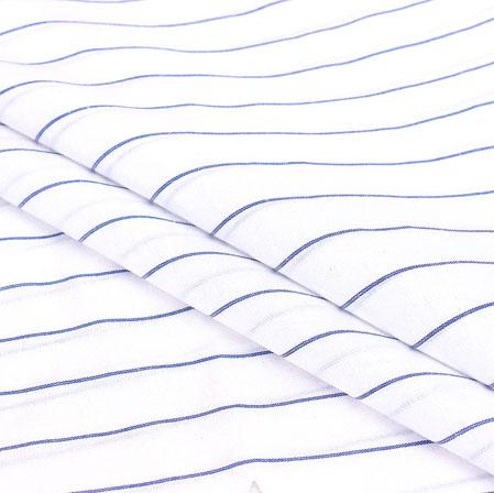 White Blue Stripe Handloom Cotton Fabric-40927