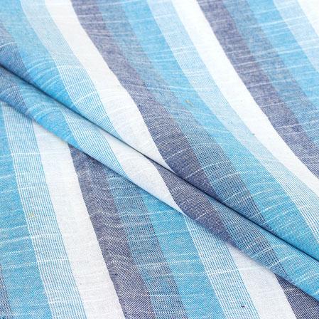 White Blue Stripe Handloom Cotton Fabric-40939