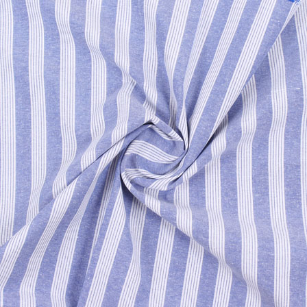 White Blue Stripe Handloom Khadi Cotton Fabric-40468