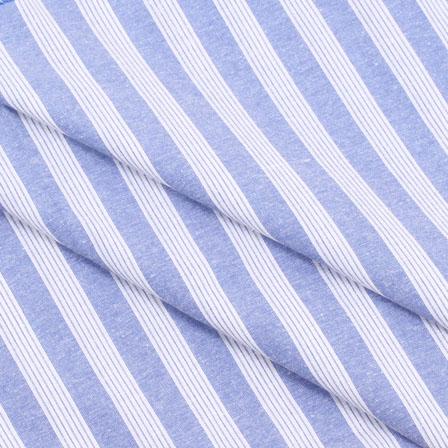 Khadi Shirt (2.25 Meter) Fabric-White Blue Stripe Handloom-140468