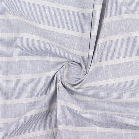 White Blue Stripe Handloom Khadi Cotton Fabric-40473