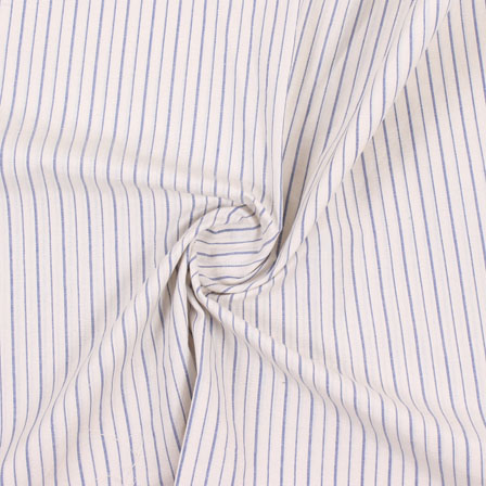 White Blue Stripe Handloom Khadi Cotton Fabric-40477