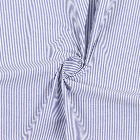 White Blue Stripe Handloom Khadi Cotton Fabric-40481