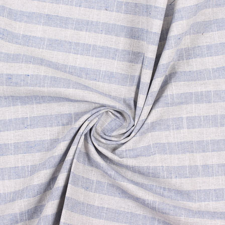White Blue Stripe Handloom Khadi Cotton Fabric-40488