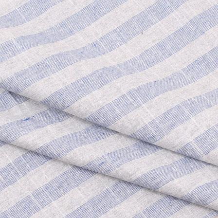 Khadi Shirt (2.25 Meter) Fabric-White Blue Stripe Handloom-140488
