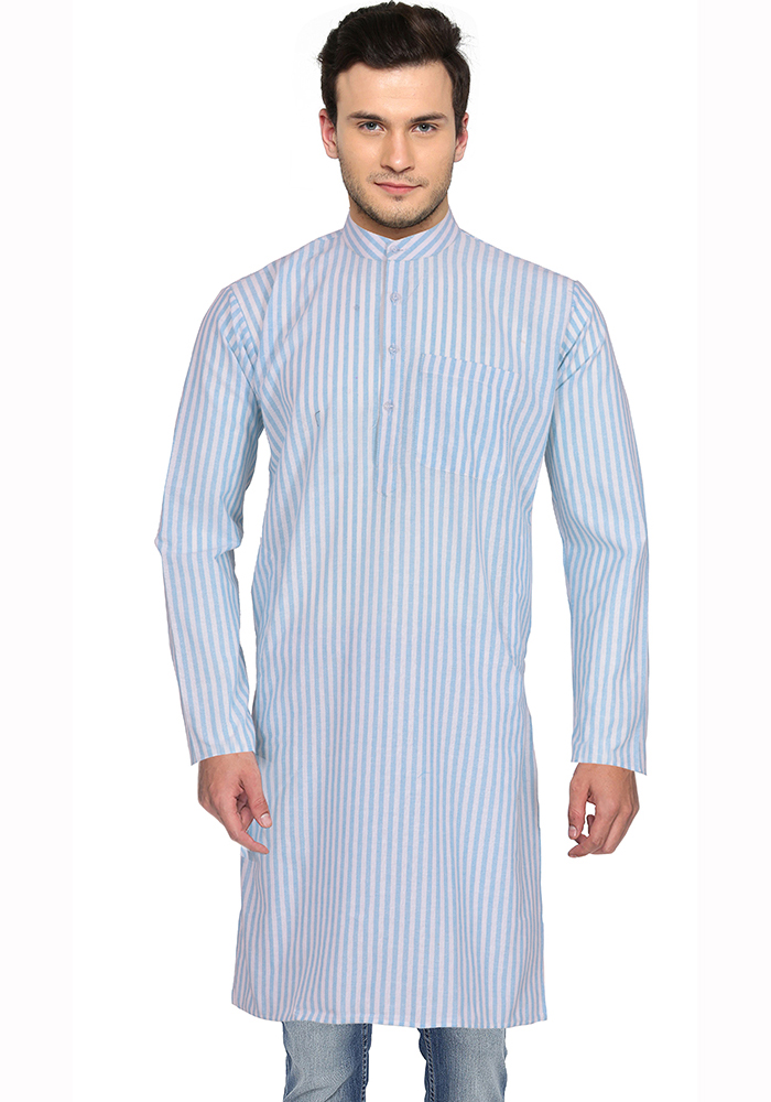 White Blue Stripes Handloom Khadi Long Kurta-33154