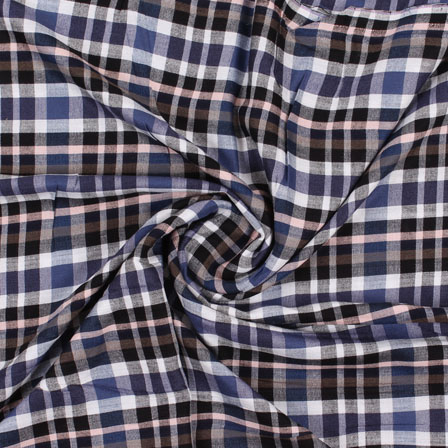 White Blue and Black Check Handloom Cotton Fabric-40437