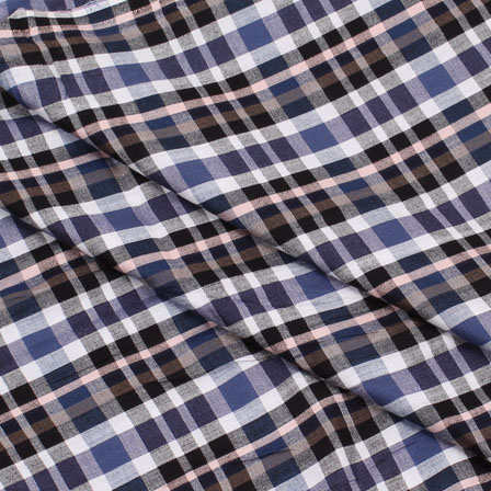 Khadi Shirt (2.25 Meter) Fabric-White Blue and Black Check Handloom-140437