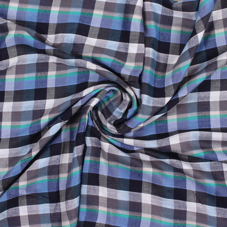 White Blue and Black Check Handloom Khadi Cotton Fabric-40438