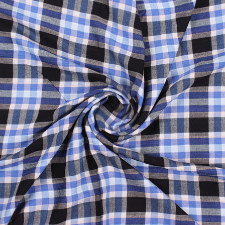 White Blue and Black Check Handloom Cotton Fabric-40445