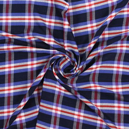 White Blue and Black Check Handloom Khadi Cotton Fabric-40449