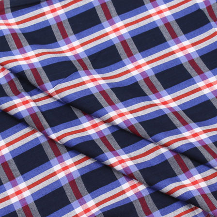Khadi Shirt (2.25 Meter) Fabric-White Blue and Black Check Handloom-140449