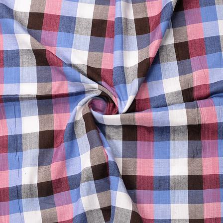 White-Blue and Black Checks Design Cotton Handloom Fabric-40180