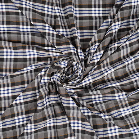 White-Blue and Black Checks Rayon Shirt Fabric-40236