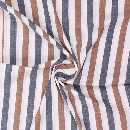 White Blue and Brown Striped Handloom Khadi Cotton Fabric-40757