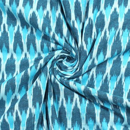 White Blue and Cyan Ikat Cotton Fabric-11006