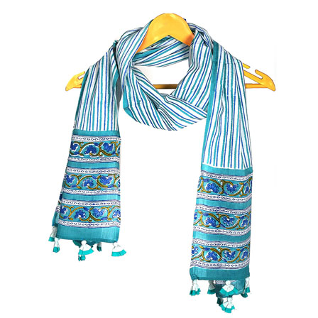 White Blue and Green Floral Cotton Block Print Dupatta With Pom Pom-33086