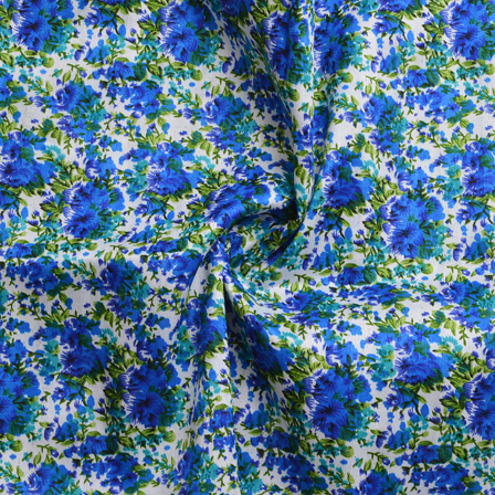 White-Blue and Green Floral Design Banglori Silk Fabric-4895