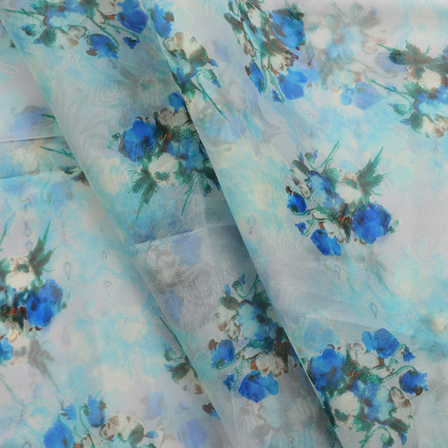 White-Blue and Green Floral Design Organza Silk Fabric-50005