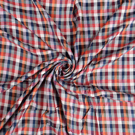 White-Blue and Orange Checks Rayon Shirt Fabric-40249