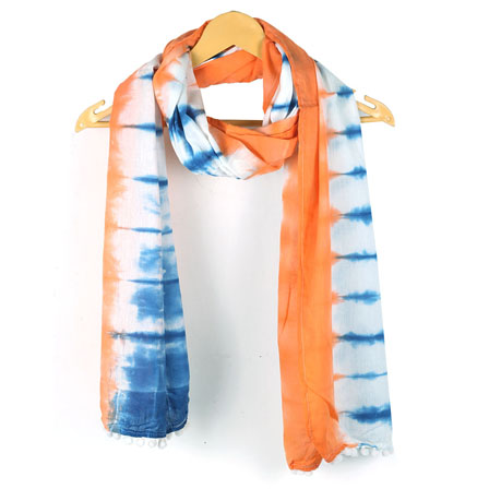 White Blue and Orange Shibori Cotton Block Print Dupatta With Pom Pom-33115