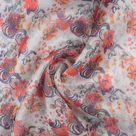 White-Blue and Pink Floral Organza Digital print Fabric-51365