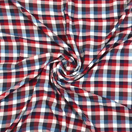 White-Blue and Red Checks Cotton Handloom Khadi Fabric-40277