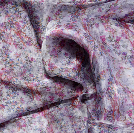 White Blue and Red Floral Organza Digital Silk Fabric-22431
