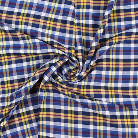 White Blue and Yellow Check Handloom Khadi Cotton Fabric-40447