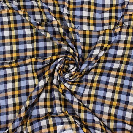 White-Blue and Yellow Checks Rayon Shirt Fabric-40264