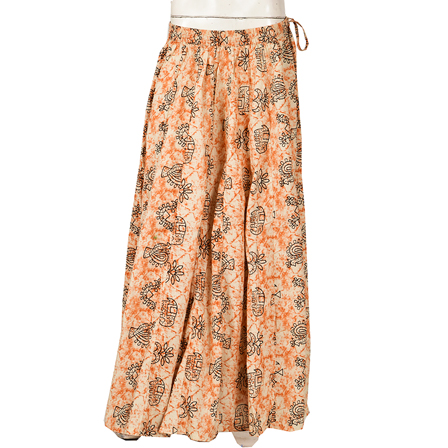 White-Brown and Black Floral Design   Block Print Cotton Long Skirt-23064