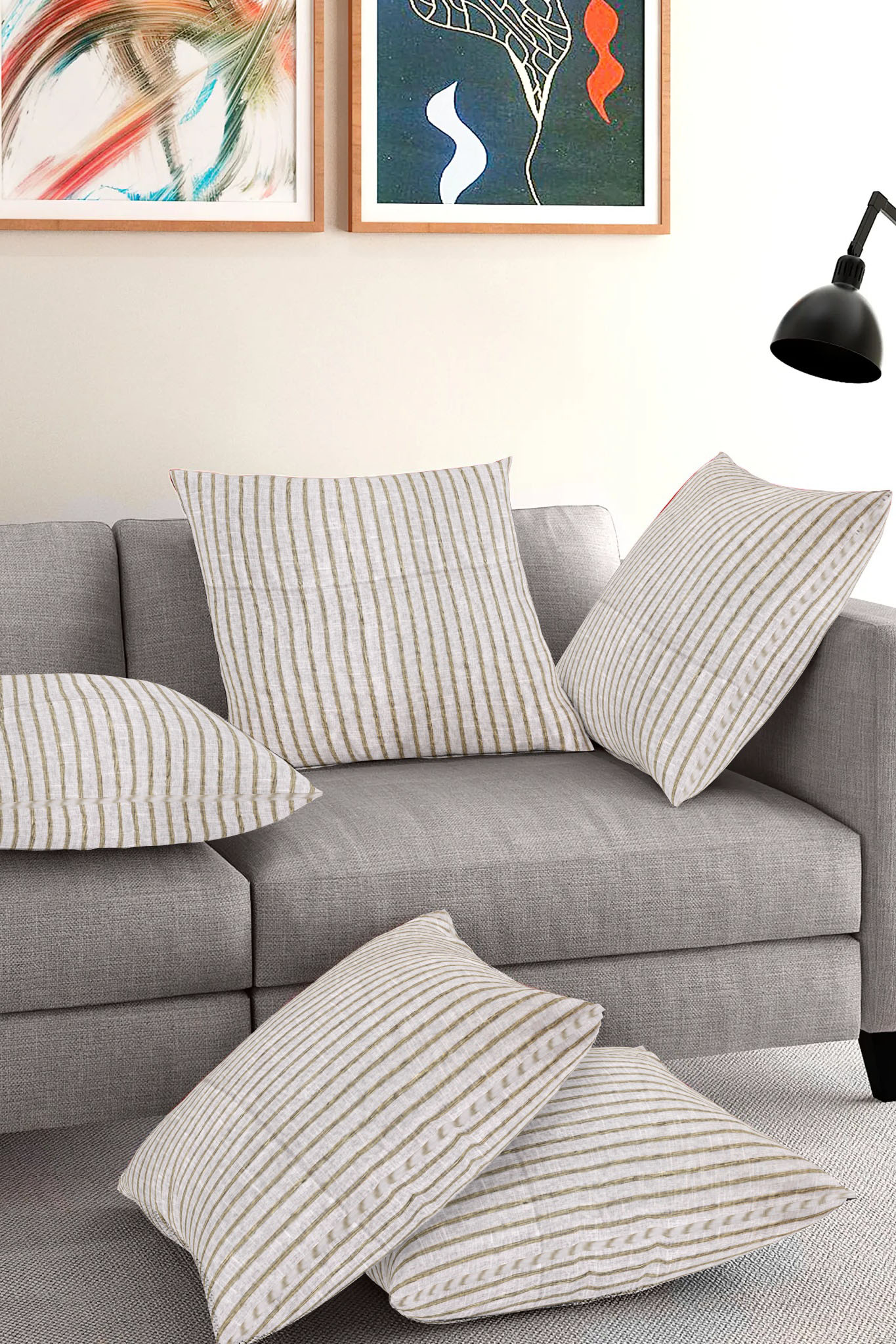 Set of 5-White Brown Cotton Cushion Cover-35405-16x16 Inches