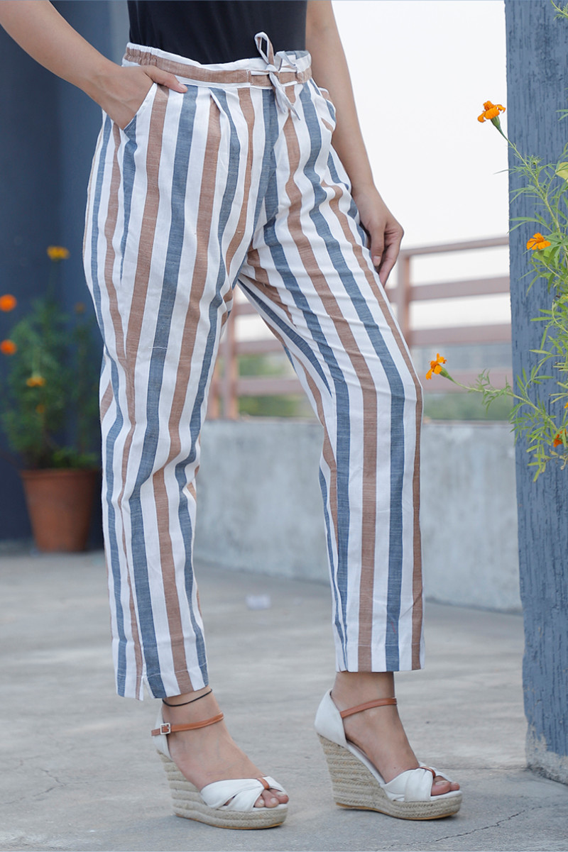 White Brown and Blue Cotton Stripe Pant with Belt-34047