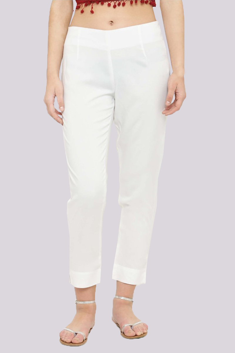 White Cotton Flex Pant with Side Chain and Pocket-33400