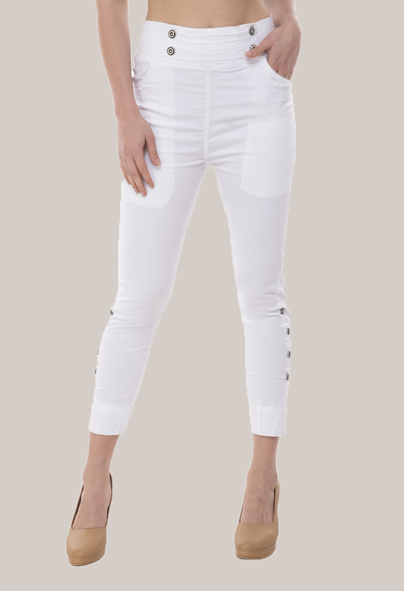 White Cotton Lycra Roll Up Pant-33501