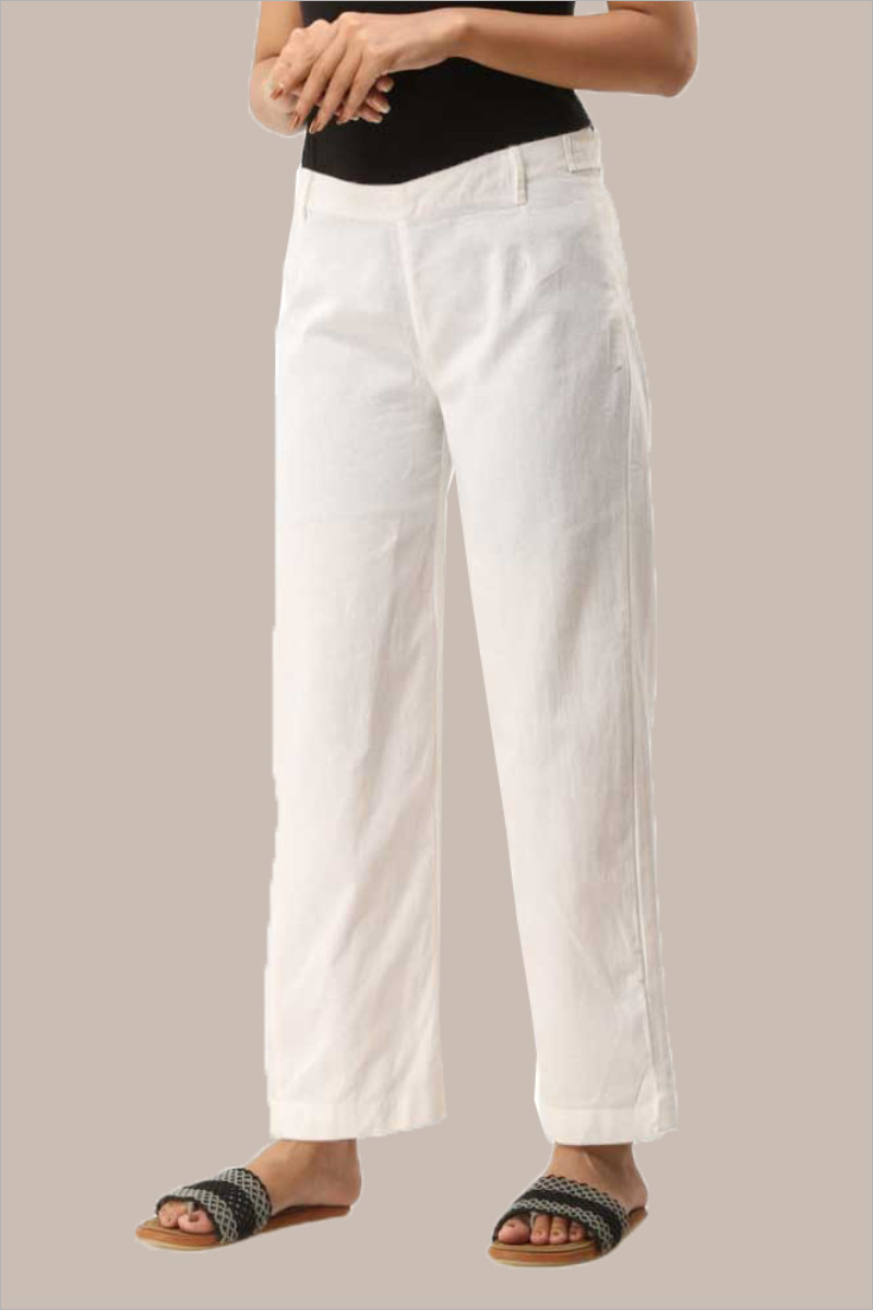 White Cotton Samray Ankle Length Pant-33716
