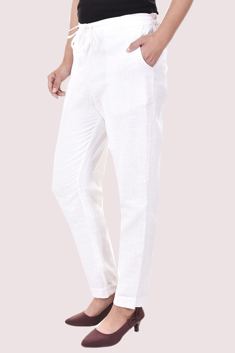 White Cotton Slub Solid Women Pant-33288