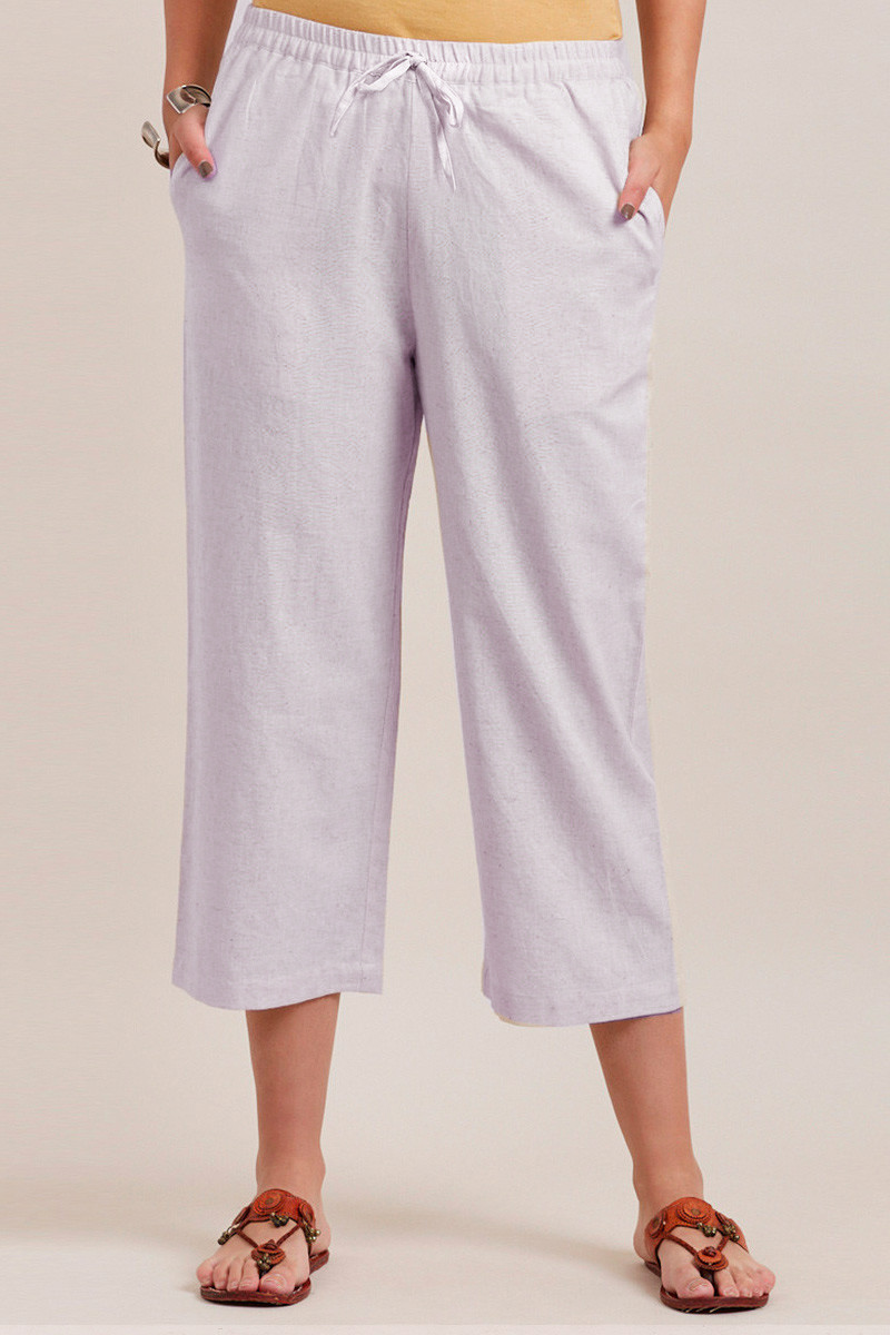 White Cotton Solid Women Culottes-33863