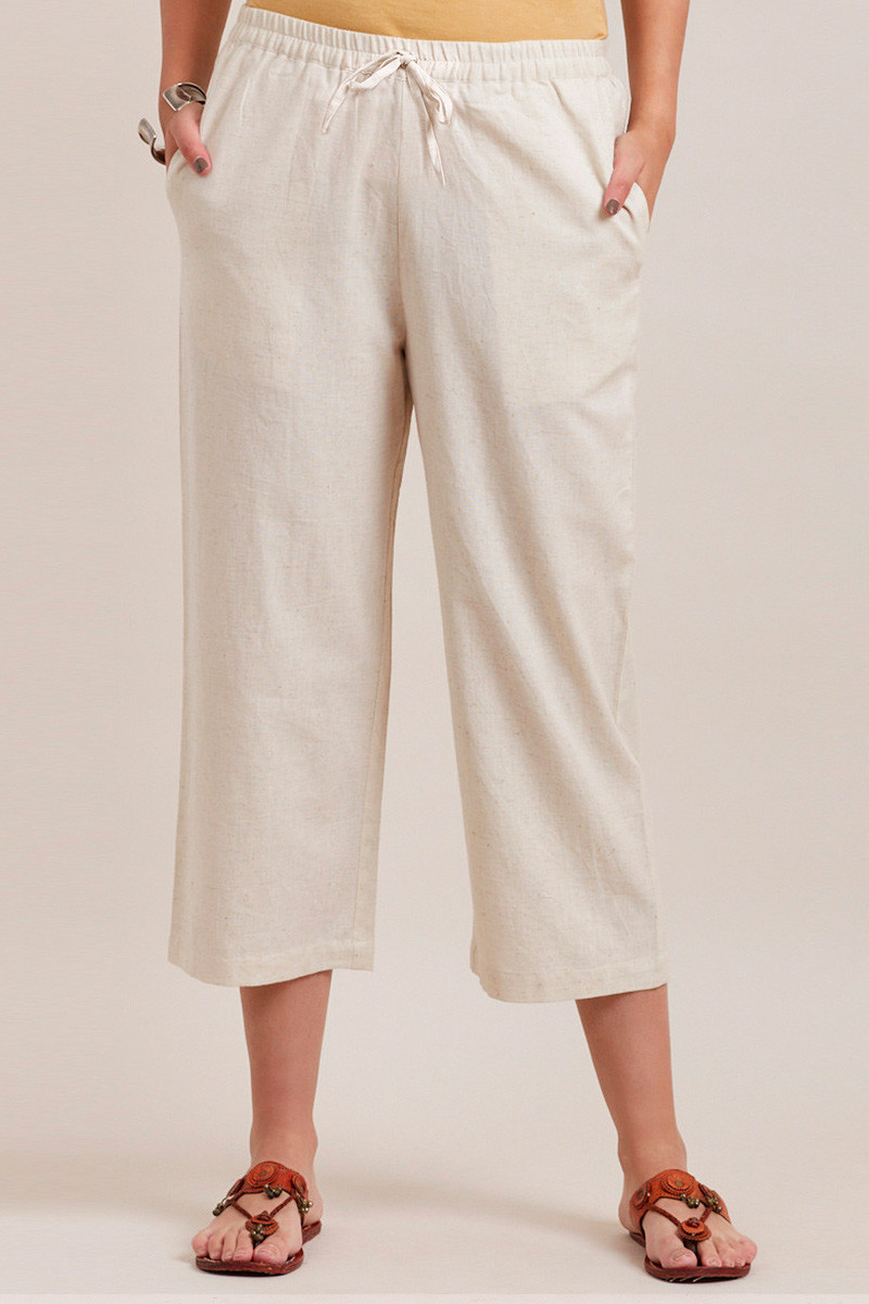 White Cotton Solid Women Culottes-33327
