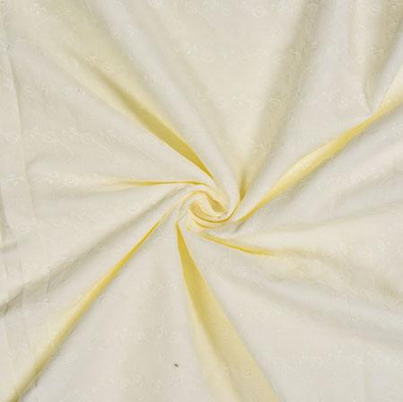 White Cream Flower Cotton Embroidery Fabric-28297