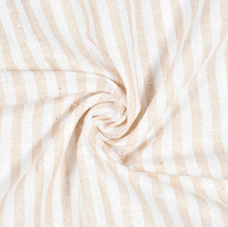 White Cream Striped Handloom Cotton Fabric-40832