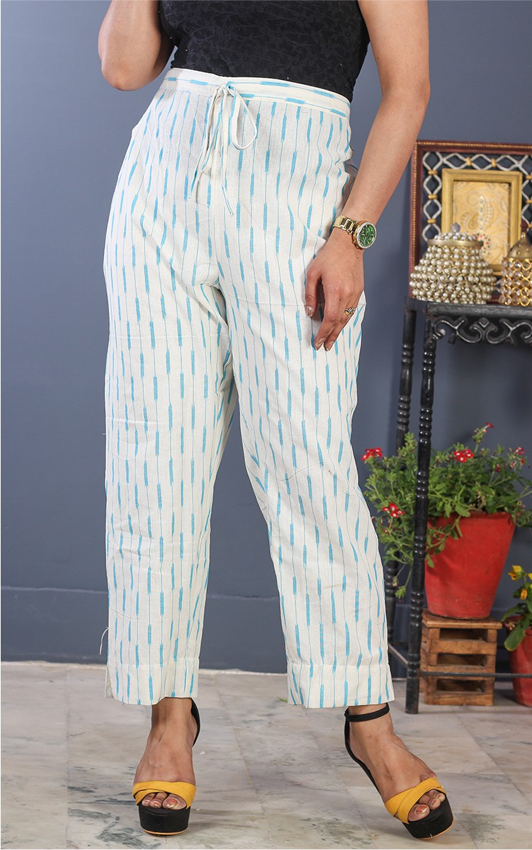 White Cyan Cotton Ikat Ankle Women Pant-34701