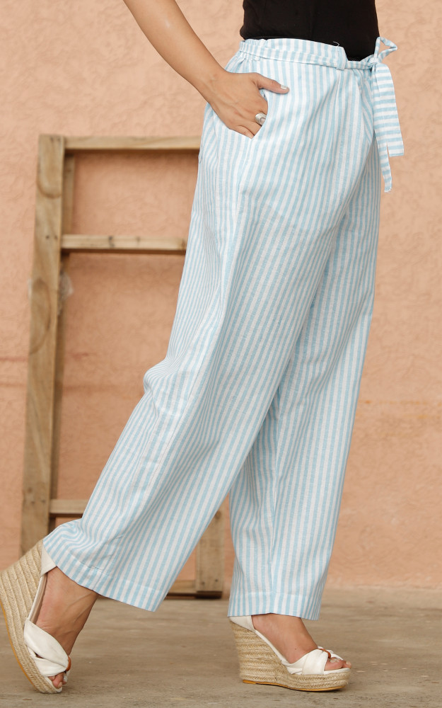 White Cyan Cotton Stripe Pant with Belt-33637