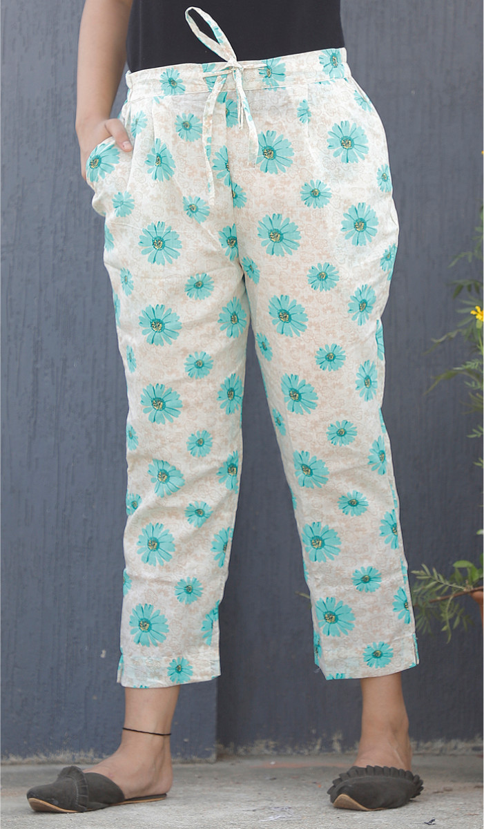 White Cyan Floral Block Print Cotton Pant-34119