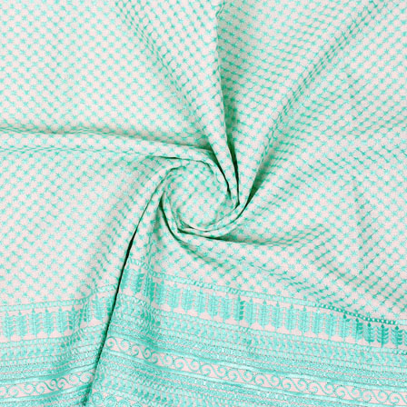 White Cyan Flower Lucknowi Chikan Fabric-95014