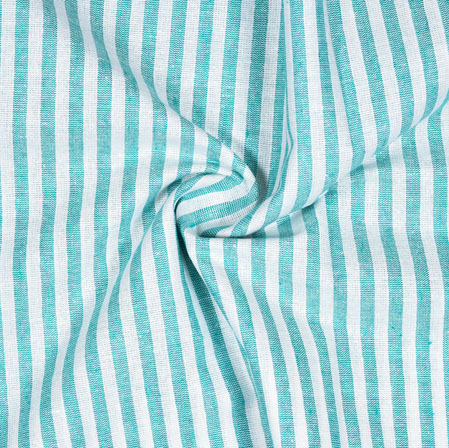 White Cyan Striped Handloom Cotton Fabric-40855