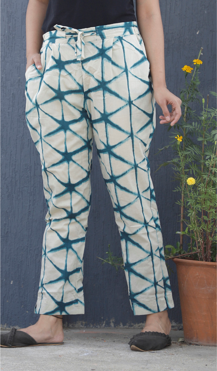 White Cyan Tie Dye Block Print Cotton Pant-34112