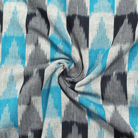 White Cyan and Gray 3D Ikat Cotton Fabric-11021
