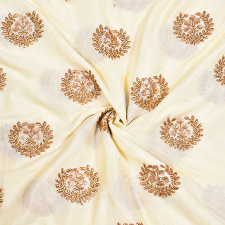 White Golden Floral Chinnon Embroidery Silk Fabric-19038