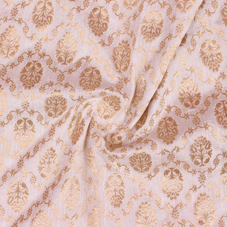 White Golden Floral Digital Banarasi Silk Fabric-9229